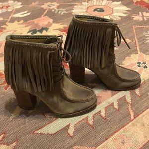 Frye Gray/Tan heeled fringed booties